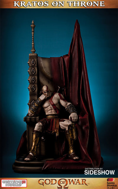 God of War - Kratos on Throne-Gaming Heads- www.superherotoystore.com-Statue - 5