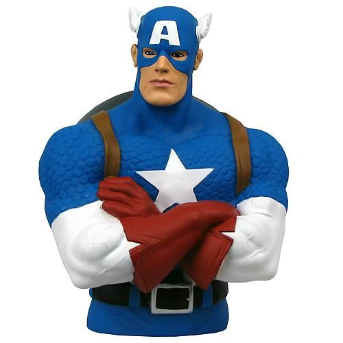 Captain America Bust Bank-Monogram International- www.superherotoystore.com-Action Figure - 1