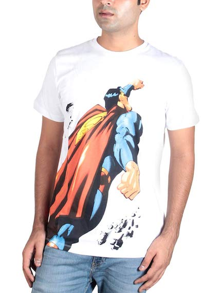 Superman White T-Shirt -Bio World - India - www.superherotoystore.com