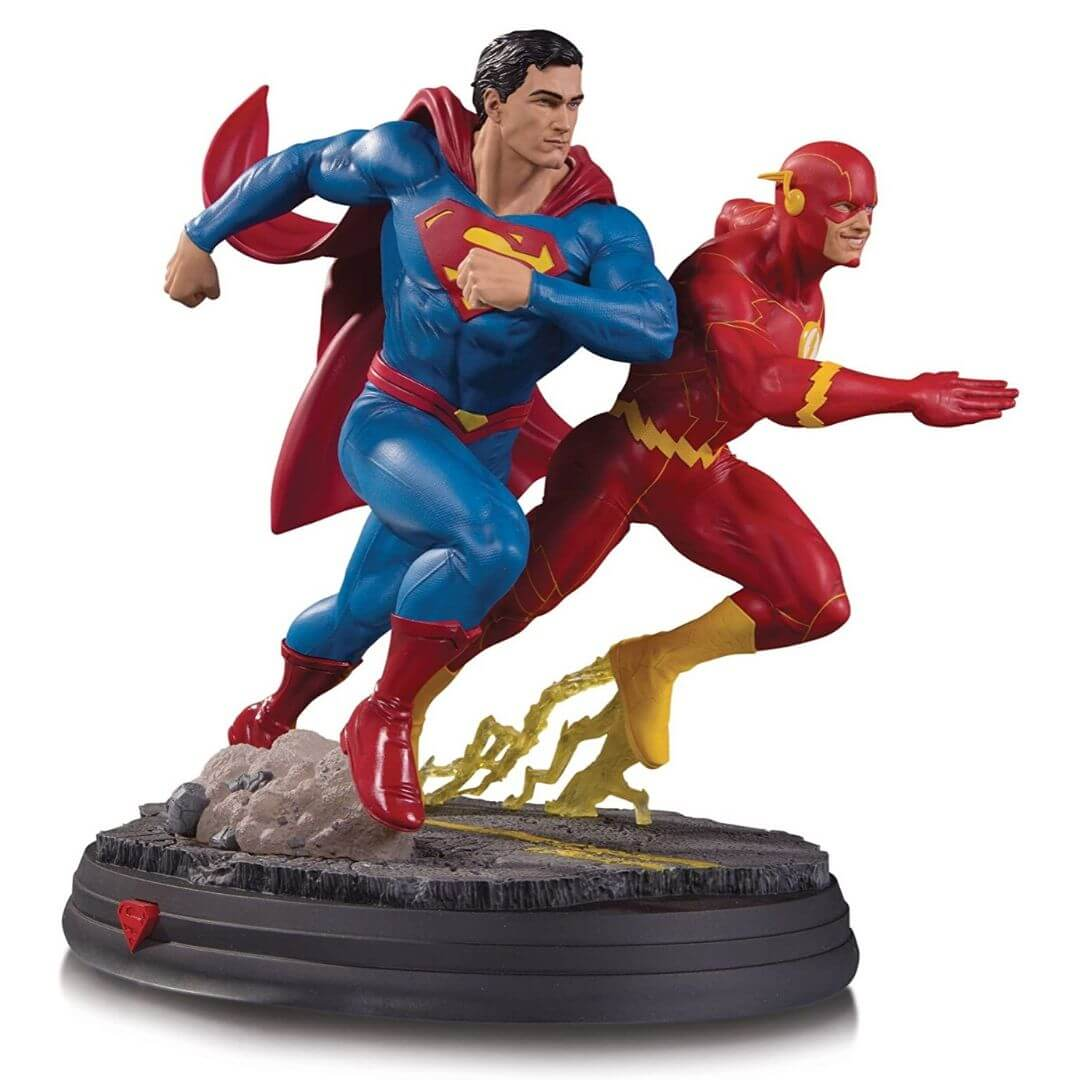 DC Gallery Superman vs. Flash Racing Statue 2nd Edition Statue by DC Collectibles -DC Collectibles - India - www.superherotoystore.com