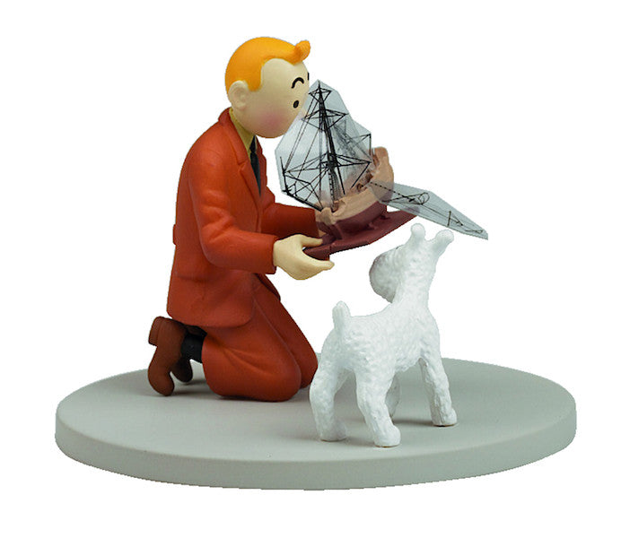 Tintin Holding The Unicorn with Snowy Figure by Moulinsart-Moulinsart- www.superherotoystore.com-Action Figure