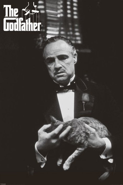 THE GODFATHER (CAT B&W) Maxi Poster-Superherotoystore.com- www.superherotoystore.com-Posters