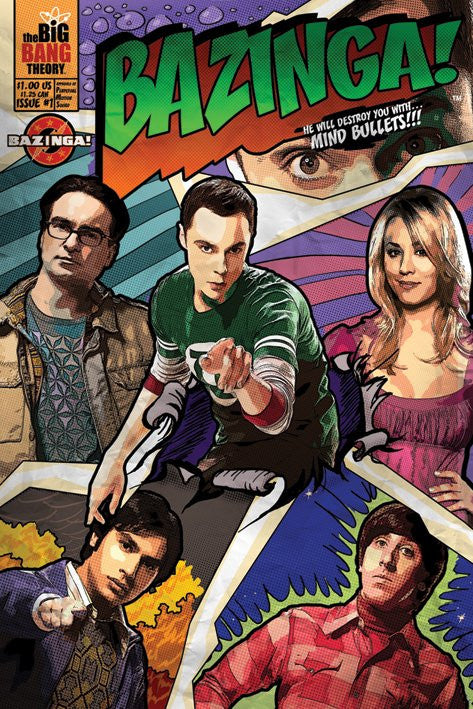 The Big Bang Theory- Comic Bazinga-Superherotoystore.com- www.superherotoystore.com-Posters
