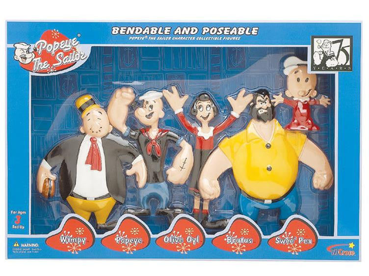 Popeye The Sailor Bendable Figure Set by NJ Croce -NJ Croce - India - www.superherotoystore.com