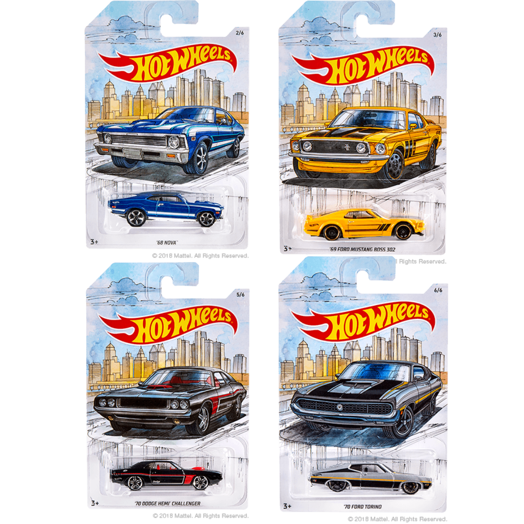 Detroit Muscle Cars Collection 4 Pack Die-Cast Car Set by Hot Wheels
