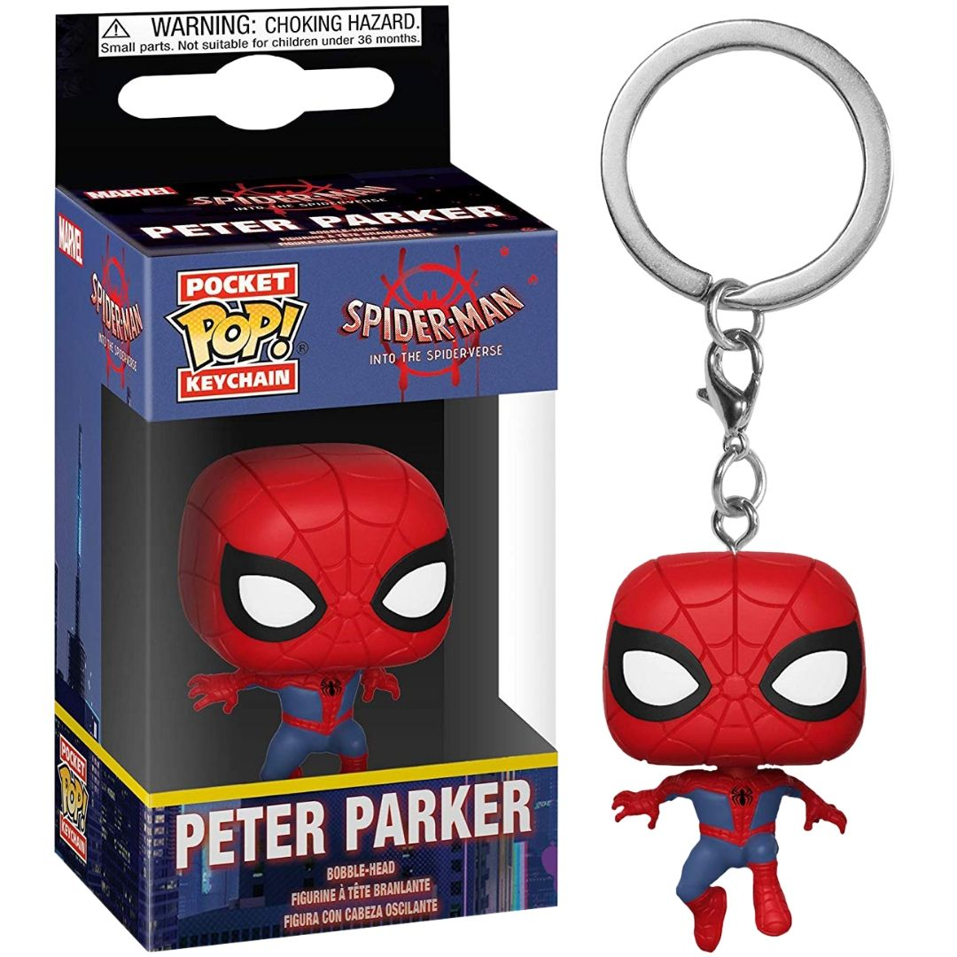 Spider-Man Into the Spider-Verse: Spiderman (Peter Parker) Pop! Vinyl Keychain by Funko