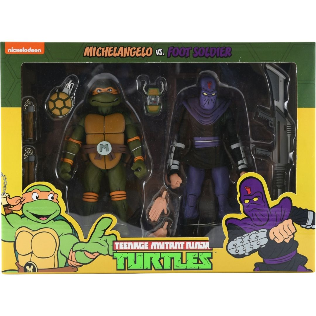 Teenage Mutant Ninja Turtles: Michaelangelo Vs Foot Soldier Figure Set by Neca