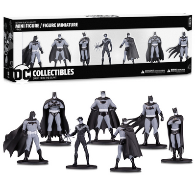 Batman Black and White 7-Pack Mini-Figure Set by DC Collectibles -DC Collectibles - India - www.superherotoystore.com