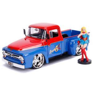 DC Bombshells Supergirl Figure & 1:24 Scale 1956 Ford F-100 Pick-Up Die-Cast Car by Jada Toys