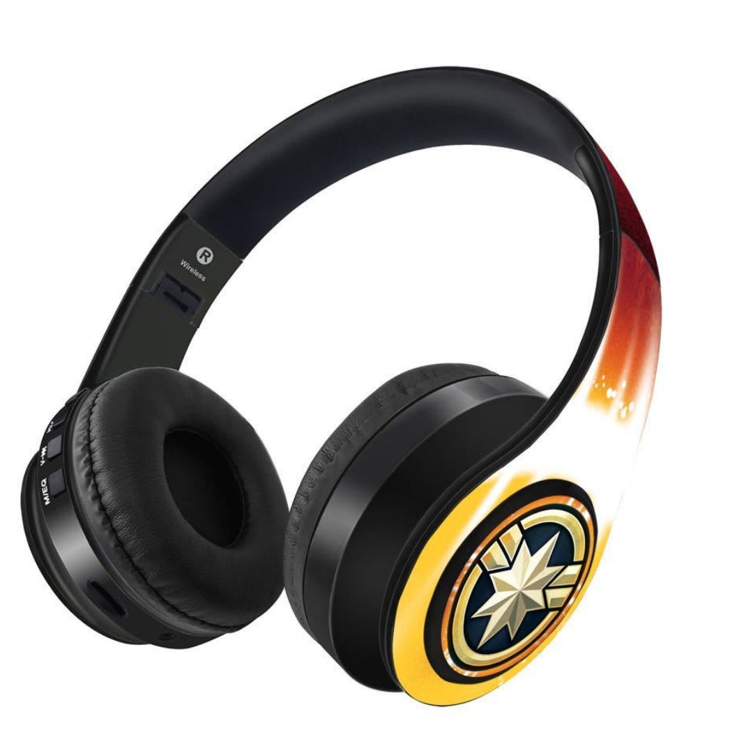 Avengers Endgame : Fiesty Captain Marvel Wireless Headphones by Macmerise