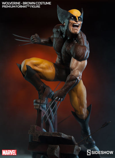X-Men Wolverine Brown Costume 1/4th Scale Premium Format Figure by Sideshow Collectibles-Sideshow Collectibles- www.superherotoystore.com-Statue - 4