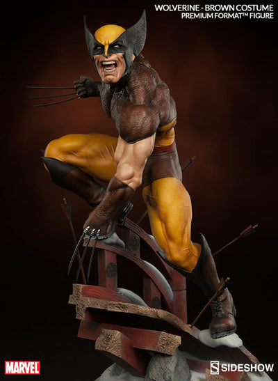 X-Men Wolverine Brown Costume 1/4th Scale Premium Format Figure by Sideshow Collectibles-Sideshow Collectibles- www.superherotoystore.com-Statue - 5