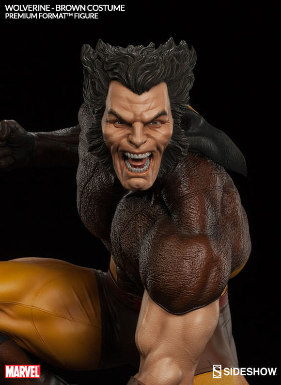X-Men Wolverine Brown Costume 1/4th Scale Premium Format Figure by Sideshow Collectibles-Sideshow Collectibles- www.superherotoystore.com-Statue - 1