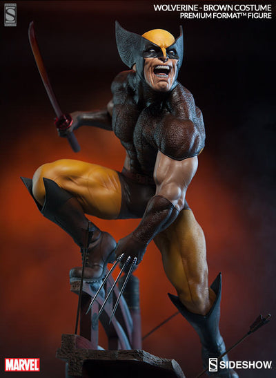 X-Men Wolverine Brown Costume 1/4th Scale Premium Format Figure by Sideshow Collectibles-Sideshow Collectibles- www.superherotoystore.com-Statue - 10