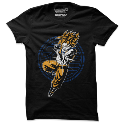 Goku: Super Saiyan Attack - Dragon Ball Z Official T-Shirt -Red Wolf - India - www.superherotoystore.com