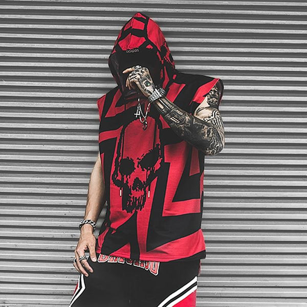 RED SKULL HOODED TANK TOP