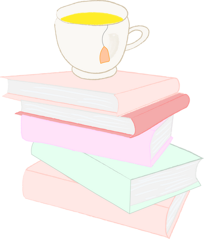 Morning routine with books piling up with a cup of tea