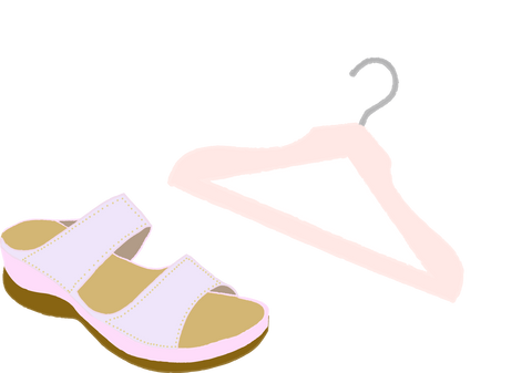 hanger and sandals showing to get dressed properly