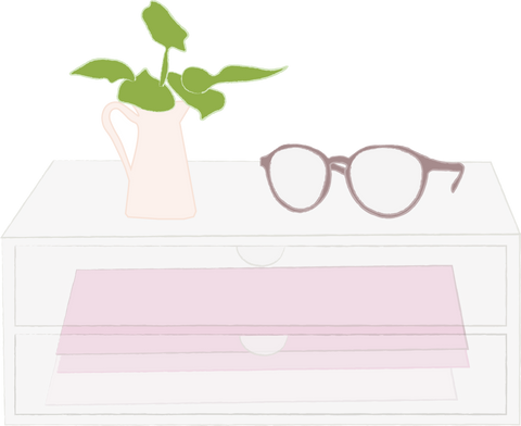 minima basics blogs photo acrylic desk organizer with glasses and plant