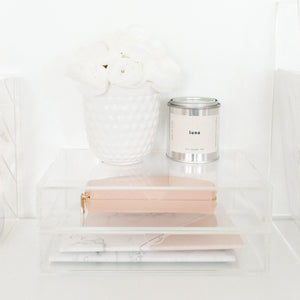 Minima Basics acrylic 2 drawer box styled with a wallet and plant and candle and some notebooks