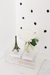 Minima Basics acrylic 2 drawer box styled with the Eiffel tower and a white rose, with cute sticky notes and notebooks