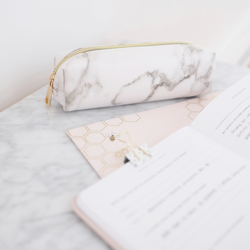 Marble mini pencil case with gold zipper