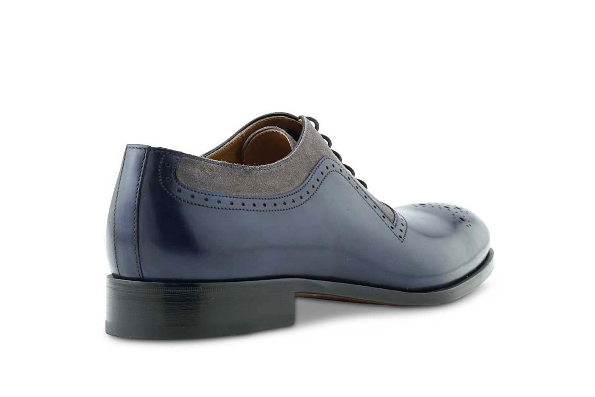 Brio French Claw In Navy/Grey Suede