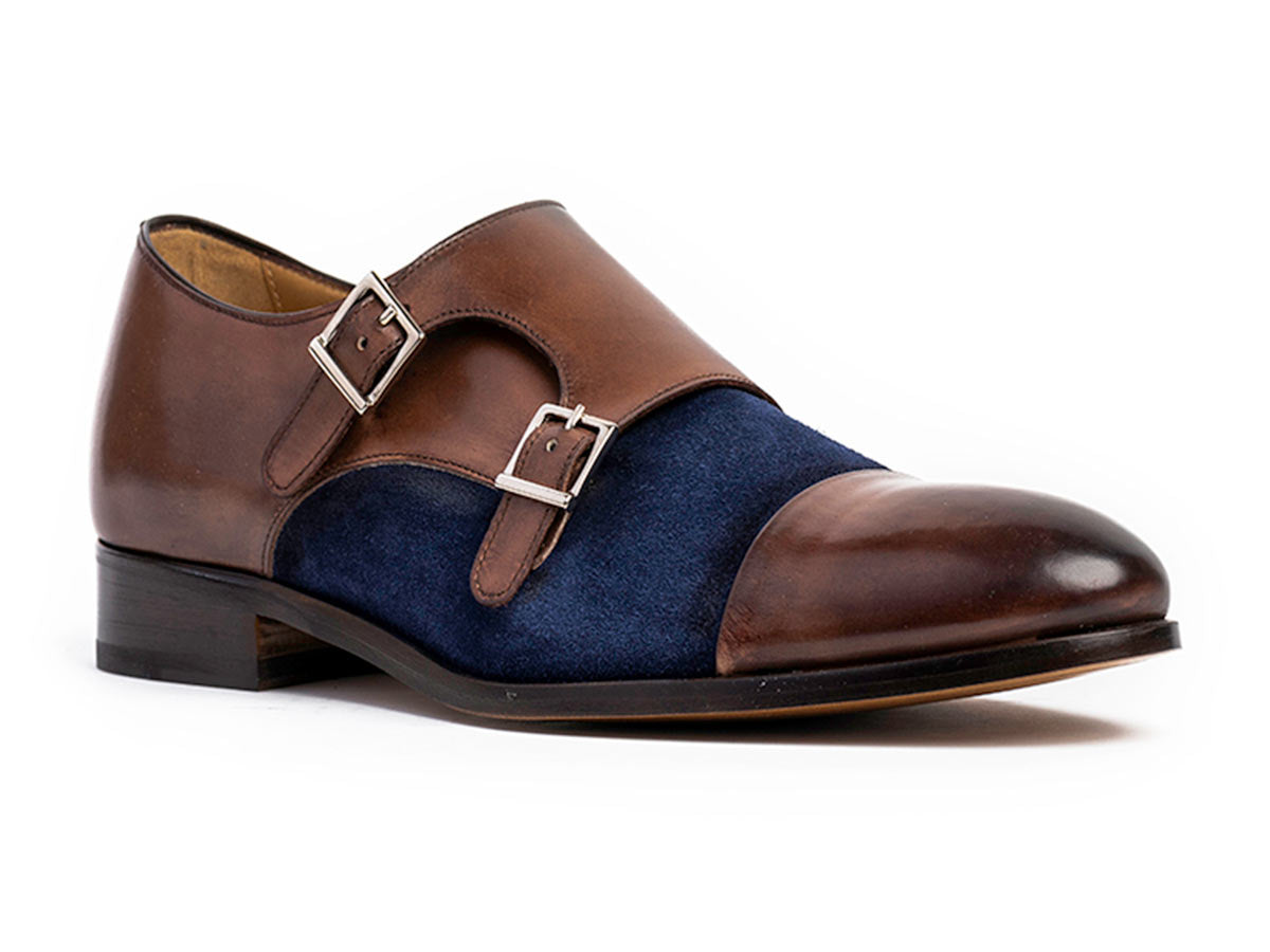 Henry Cap Toe Monkstrap in Brown Antique & Blue Suede