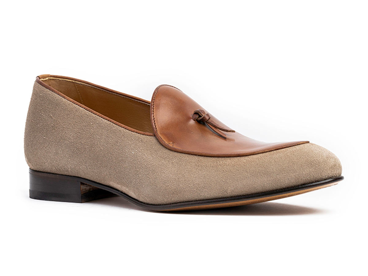 Giani Belgian Loafer in Sand Suede & Cuoio Antique