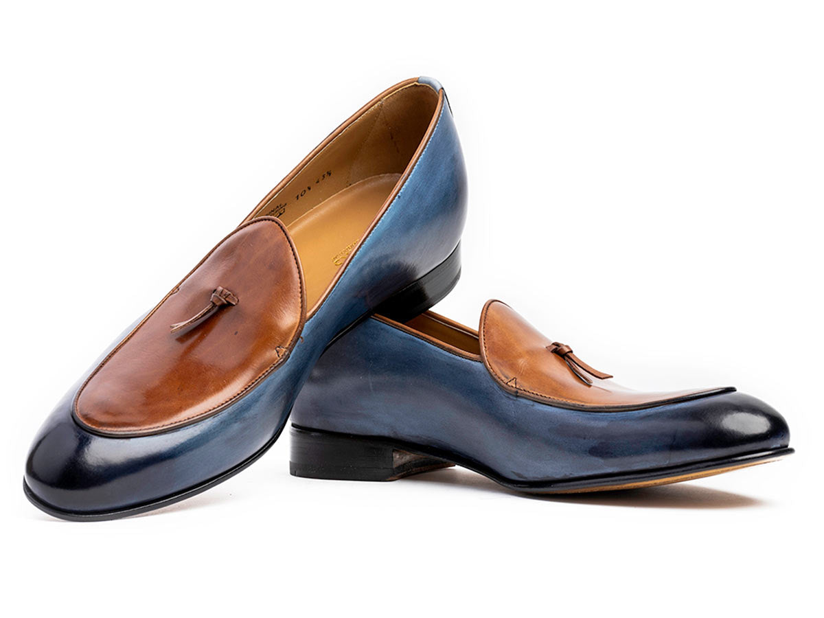 Giani Belgian Loafer in Vela Blue Nicol & Cuoio
