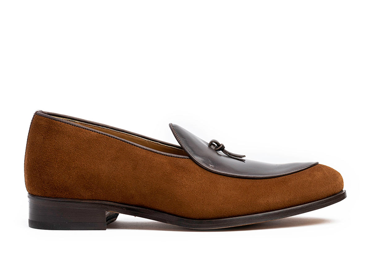 Giani Belgian Loafer in Whiskey Suede & Dk. Brown