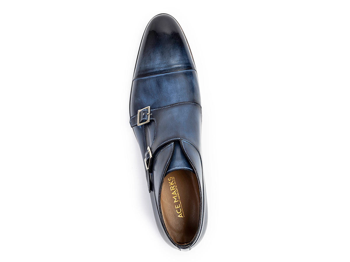 James Cap Toe Monkstrap Vela Blue Nicol