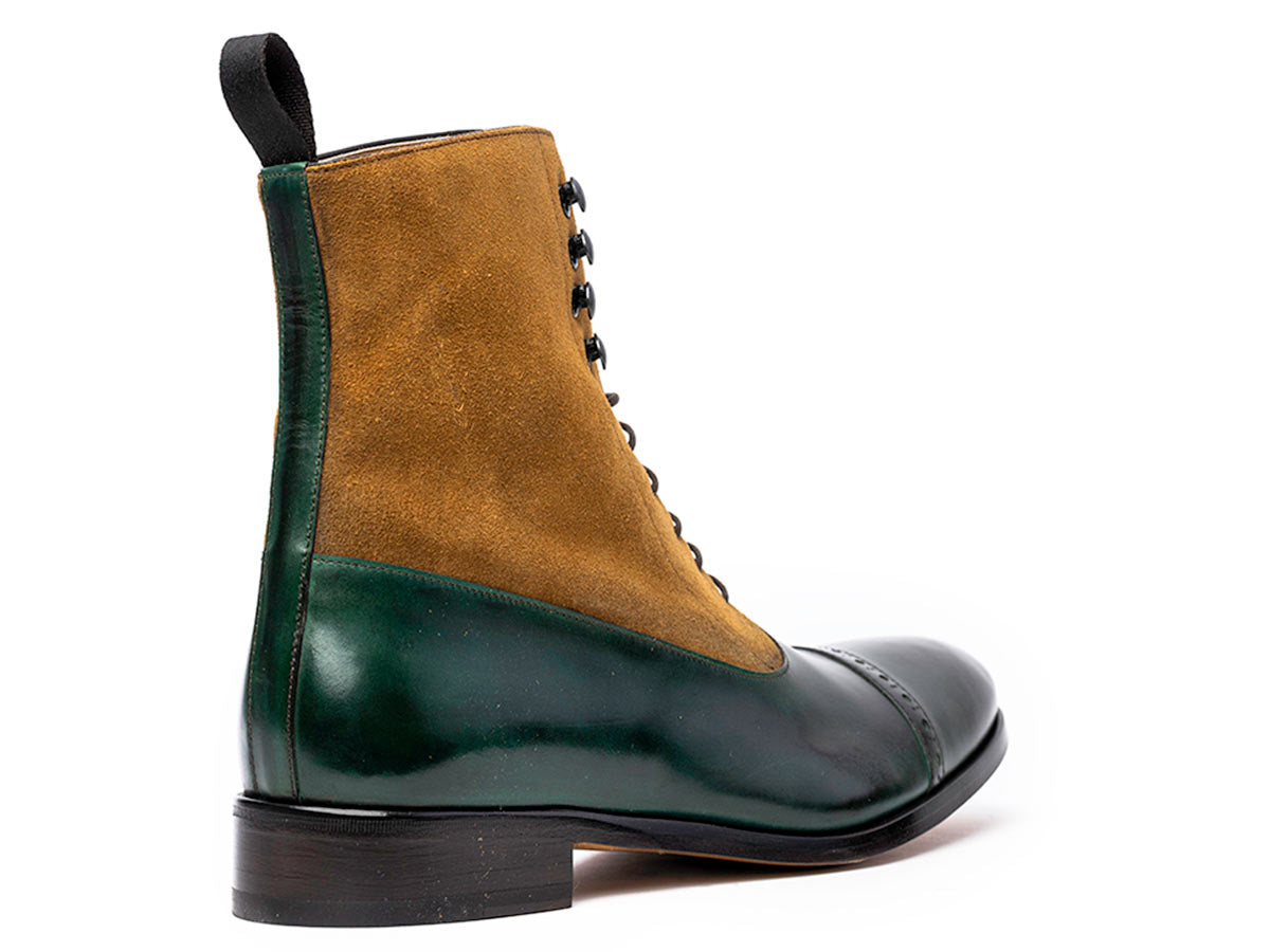 Bela Balmoral Boot in Green Muschio & Cuoio Suede
