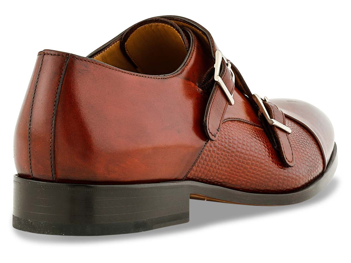 Henry Double Monkstrap in Brandy & Stamped Brandy