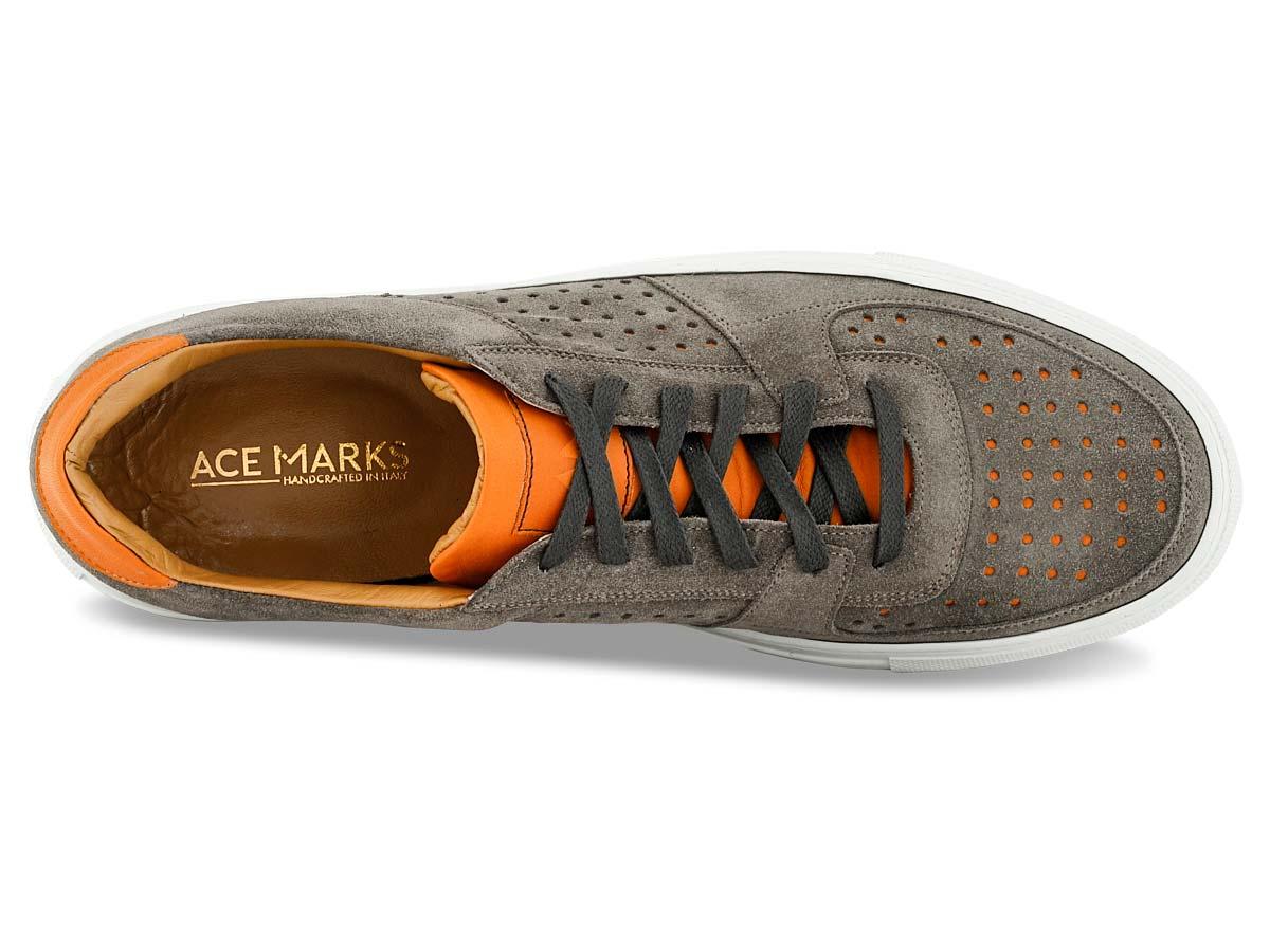 Jesse Sneaker in Grey with Orange Perforation