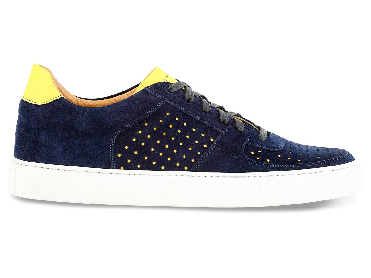 Jesse Sneaker in Navy with Yellow Perforation