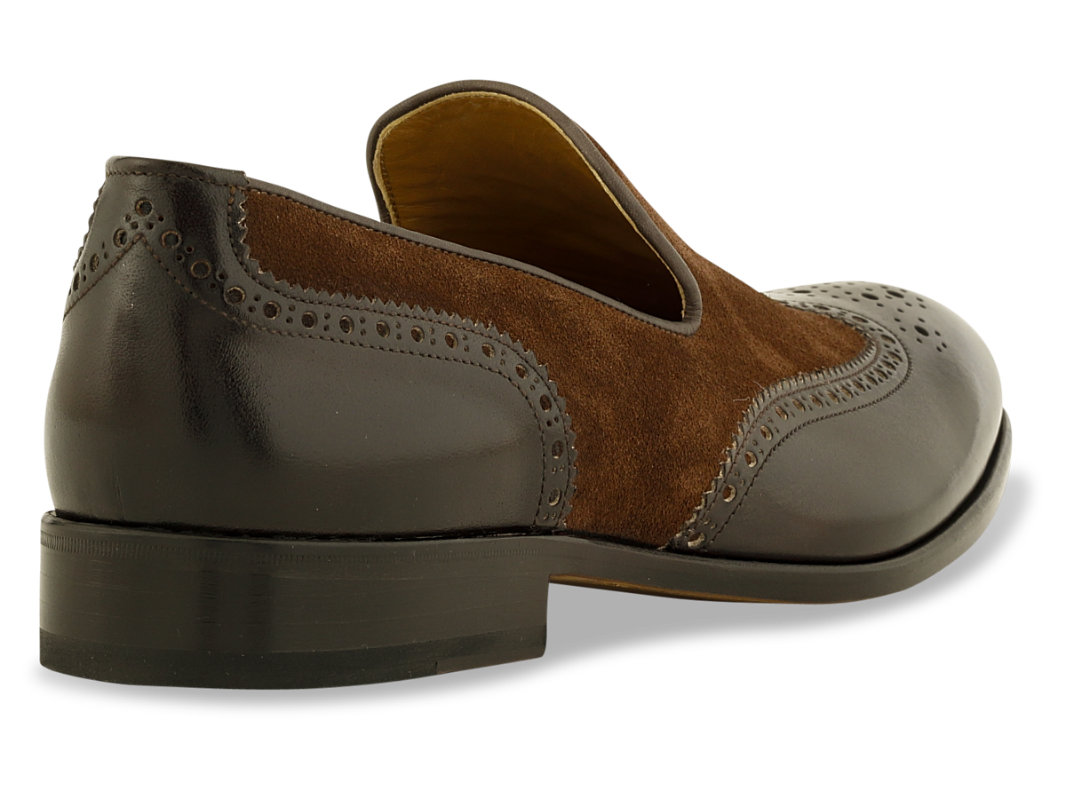 Jordan Loafer Wingtip in Dk. Brown & Brown Suede