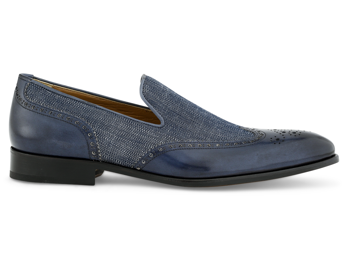 Jordan Loafer Wingtip in Navy & Jeans