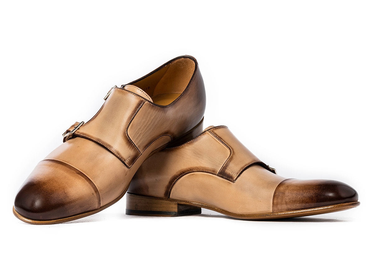 Theo Captoe Monkstrap in Latte Antique