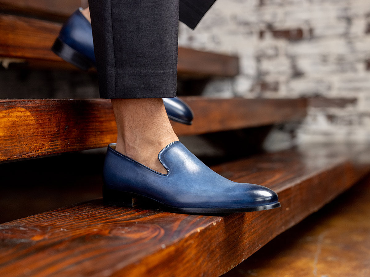 Gio Plain Slipper In Vela Blue Nicol