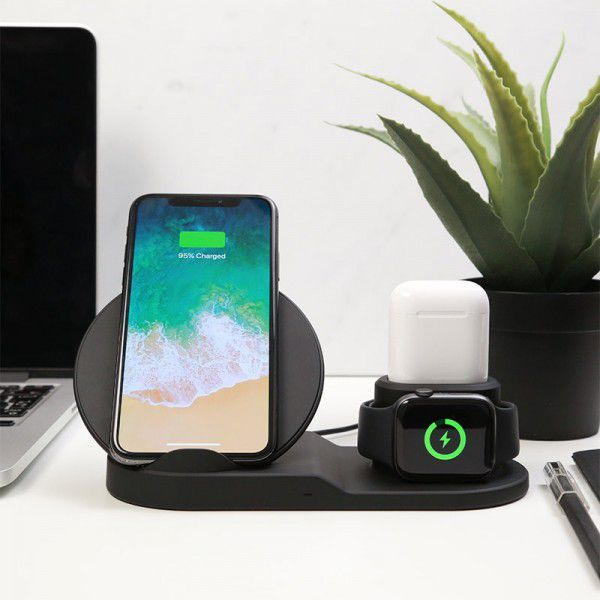 Fast Wireless Charger Holder For Iphone 3 In 1   Wireless Charger Dock Station For Apple Watch Series 1 2 3 4 Airpods - uideastore