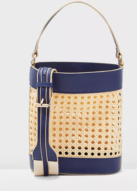 Basket Weave Drawstring Crossbody