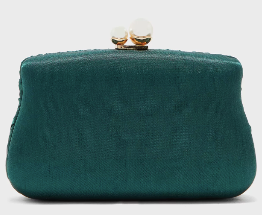 Boxy Clutch Bag With Pearl Clasp
