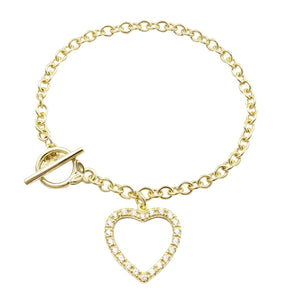 Link With Toggle Clasp & Pave Heart Bracelet