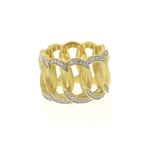 Gold Brushed Thick Chain Ring