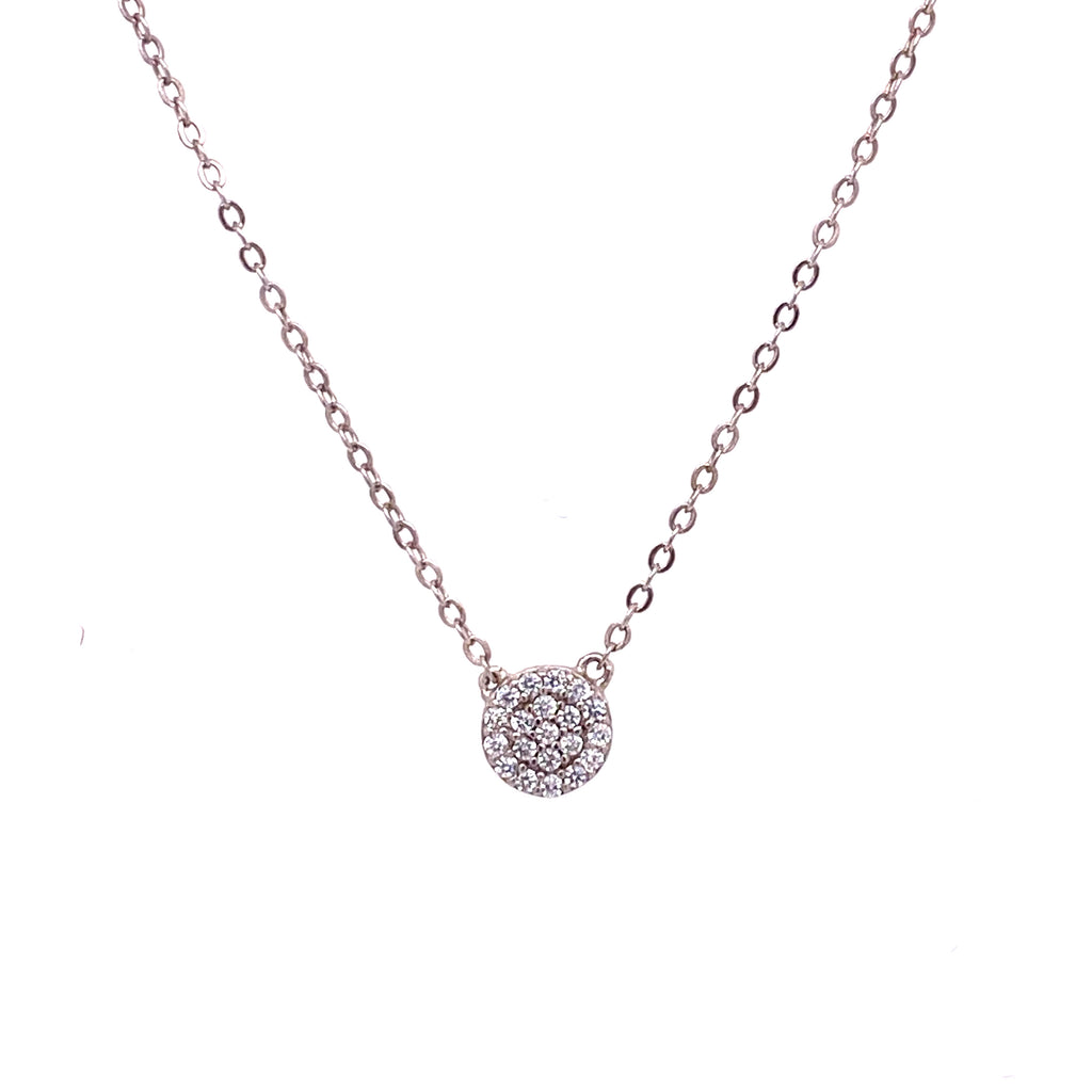 Small Pave Solitaire Necklace
