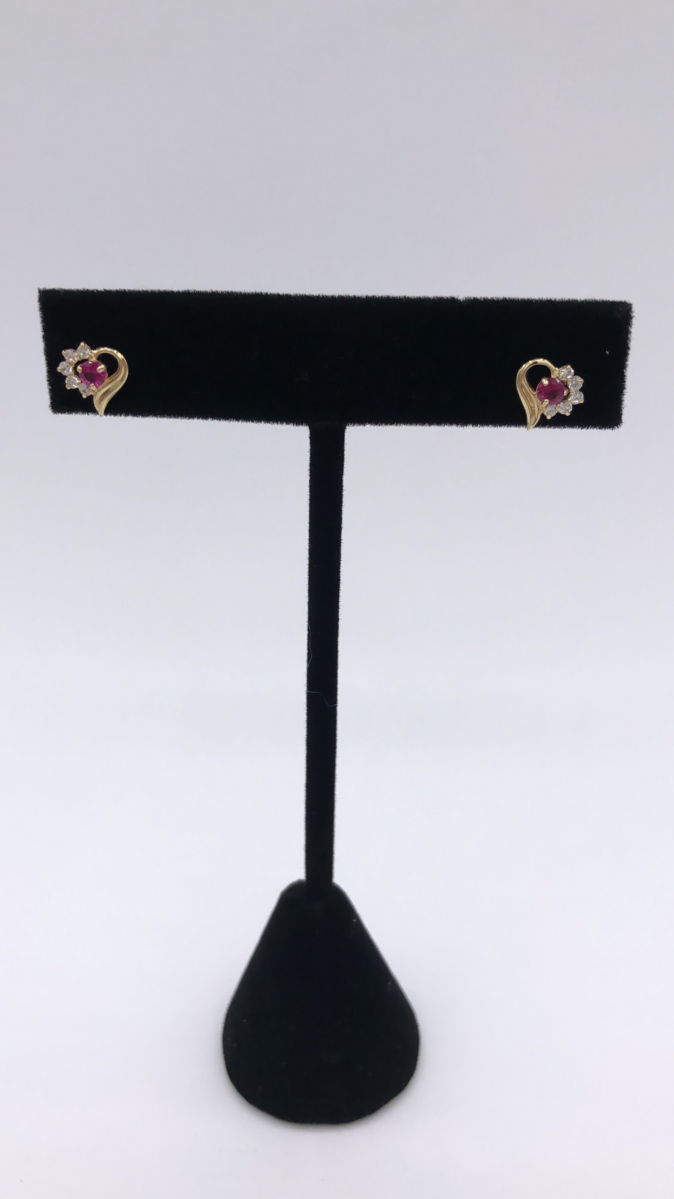 14k Gold Ruby Heart Earring Post