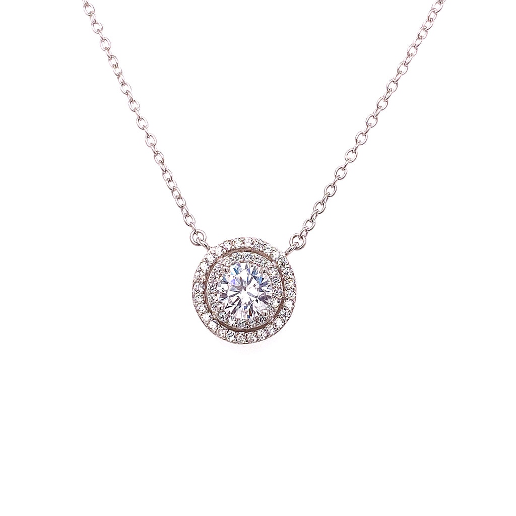 Double Pave Solitaire Necklace