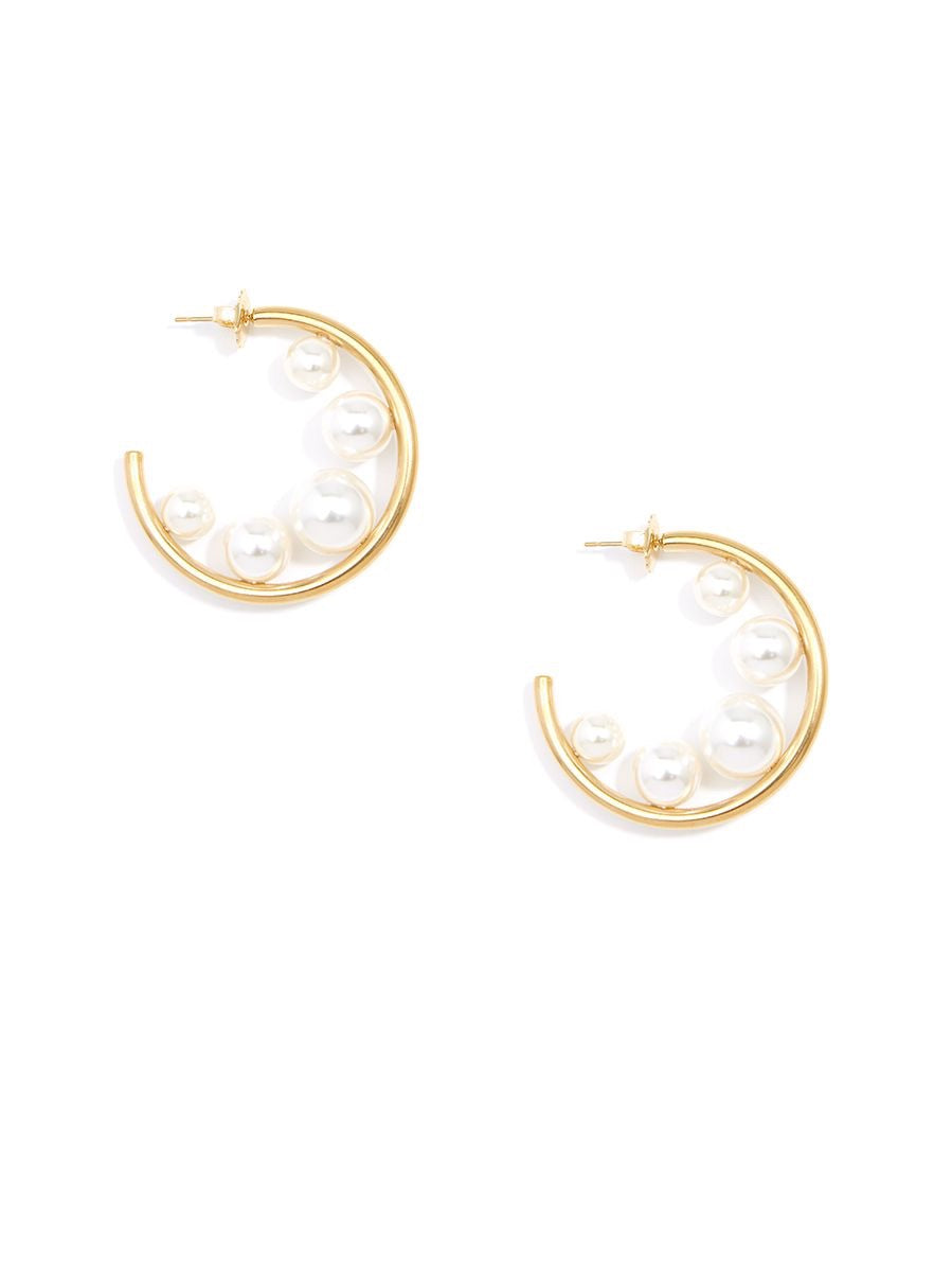 Pearl Embellished Hoops