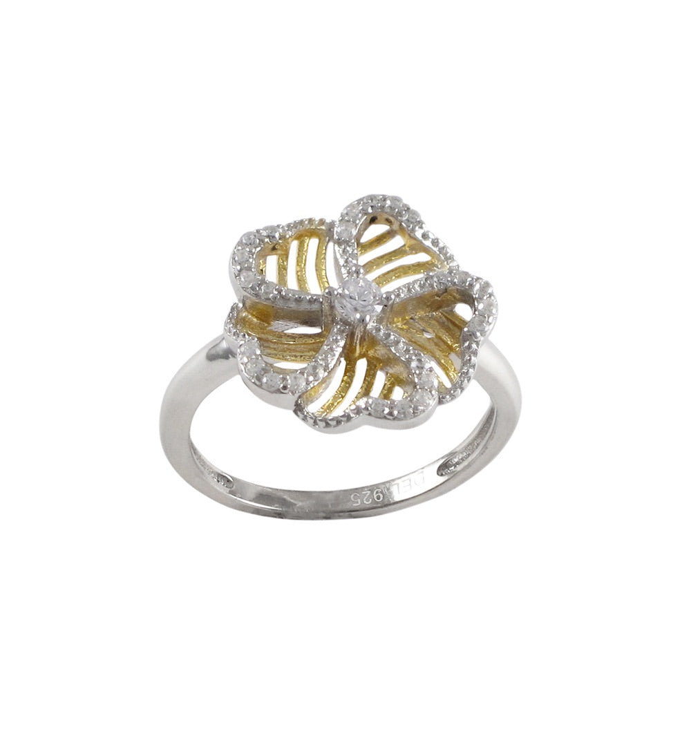 Two Tone Sterling Silver Flower Ring
